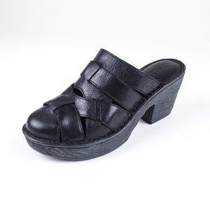 Born Pollina Woven Leather Clogs Mules Platforms 9